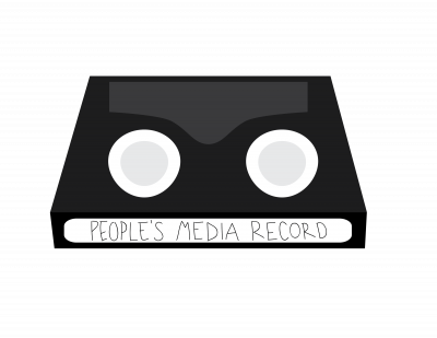 People's Media Record logo, the People's Media Record is written across the label of a miniDV tape